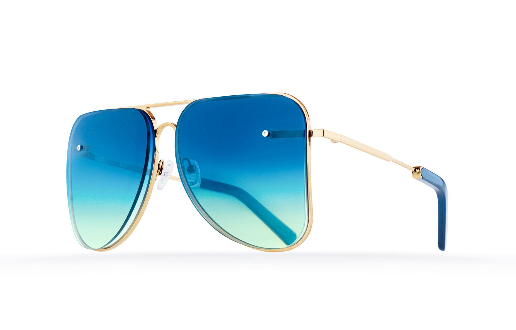 FAKBYFAK  Light blue aviator Model 1. Golden metal frame Code: 07/01/022