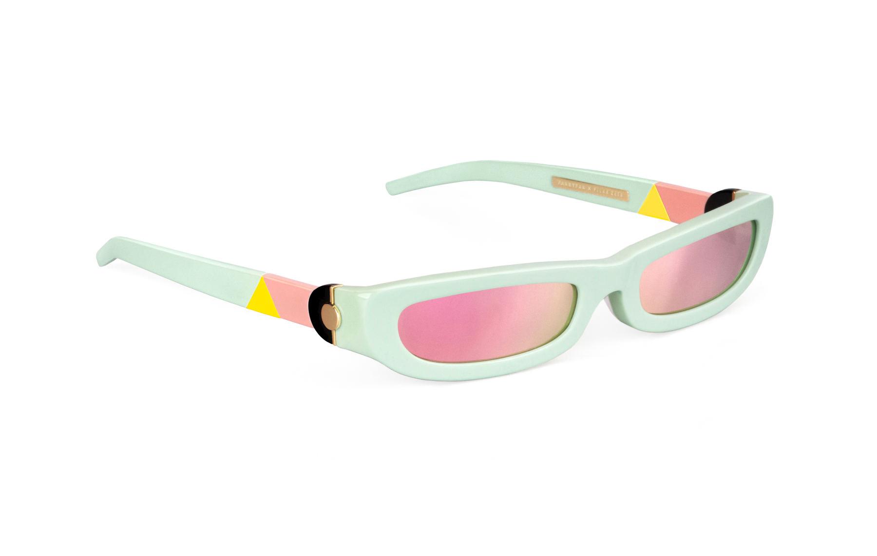 FAKBYFAK x Pilar Zeta  SHARP. Sunglasses. Glossy Mint & Mirrored Pink Code: FBF-14-01-04