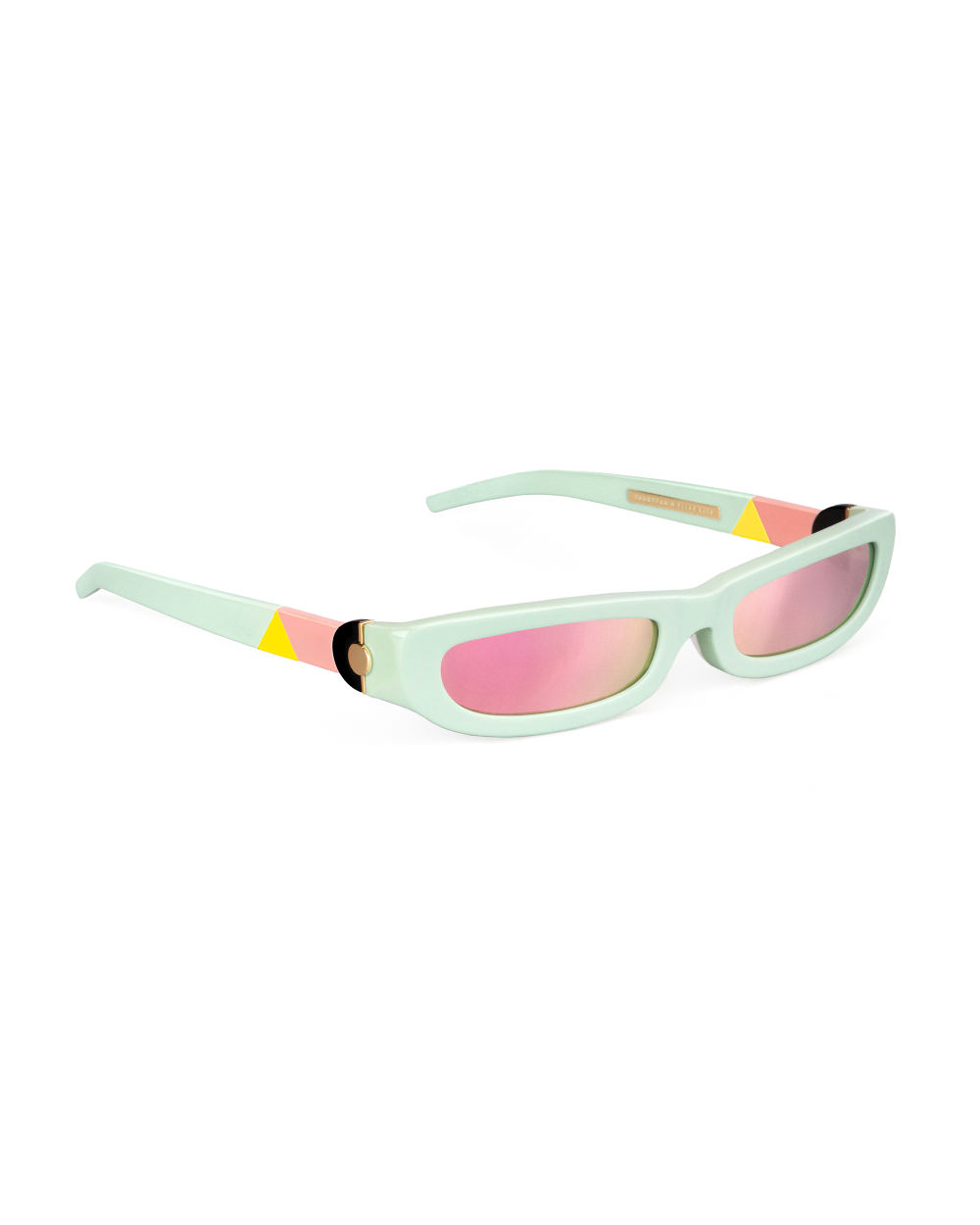 SHARP. Sunglasses. Glossy Mint & Mirrored Pink
