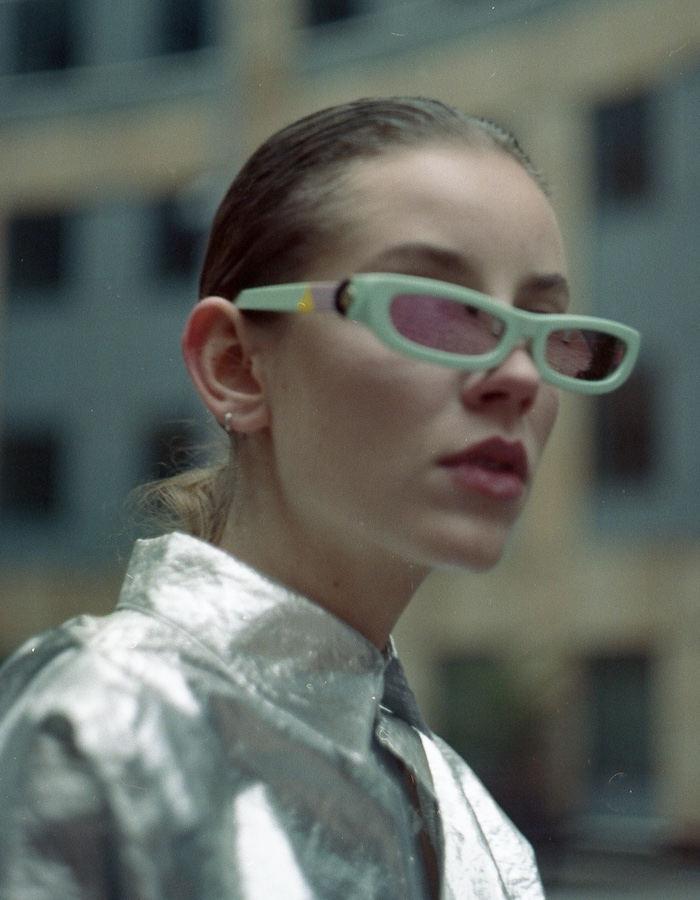 FAKBYFAK x Pilar Zeta  SHARP. Sunglasses. Glossy Mint & Mirrored Pink Code: 14/01/04