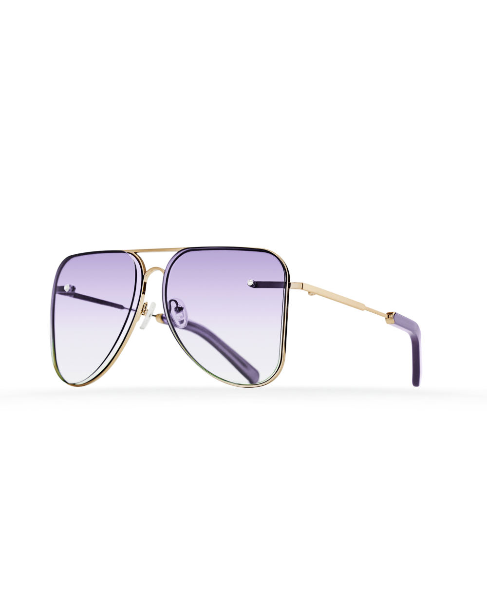 Lilac gradient aviator Model 1. Golden metal frame