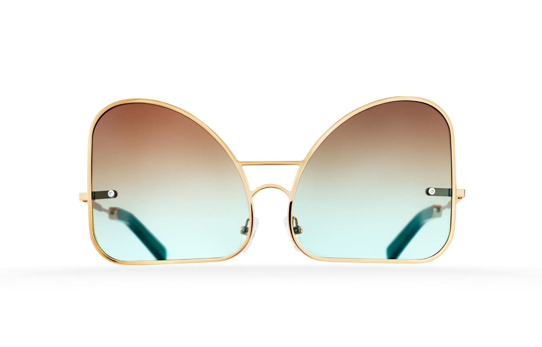 FAKBYFAK  Inverted mint chocolate gradient lenses aviator Model 2. Golden metal frame Code: 07/02/01