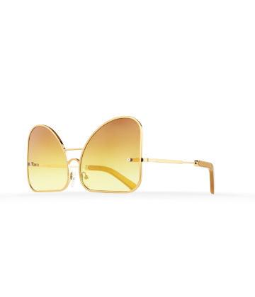 Inverted yellow gradient lenses aviator Model 2. Golden metal frame