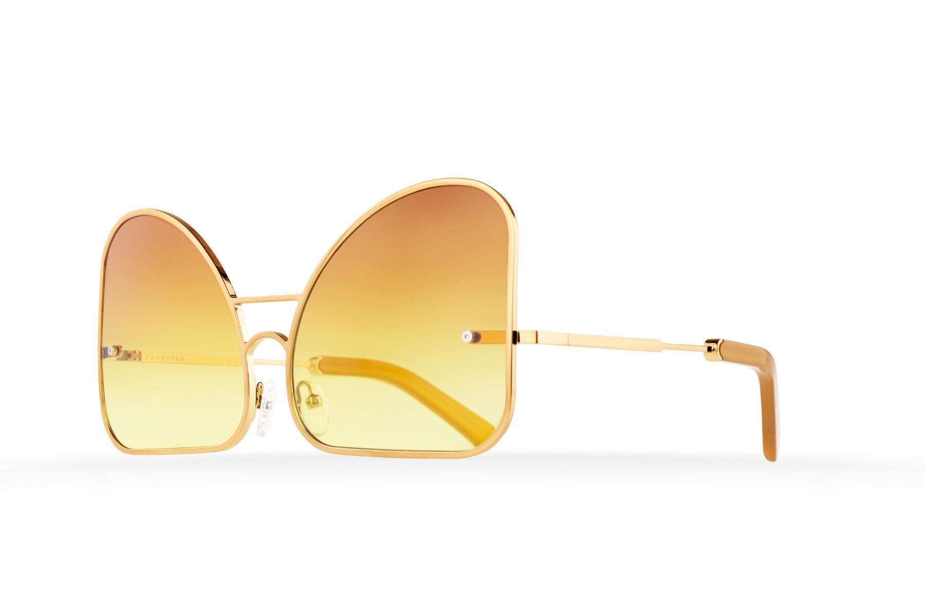 FAKBYFAK  Inverted yellow gradient lenses aviator Model 2. Golden metal frame Code: 07/02/02