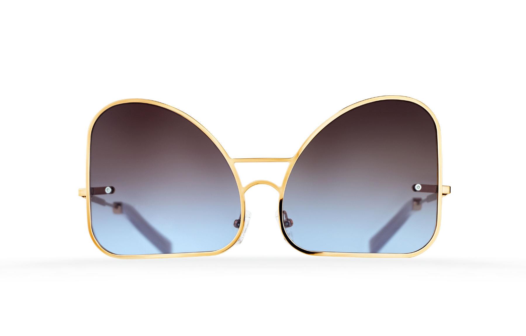 FAKBYFAK  Inverted blue chocolate gradient lenses aviator Model 2. Golden metal frame Code: FBF-07-02-03