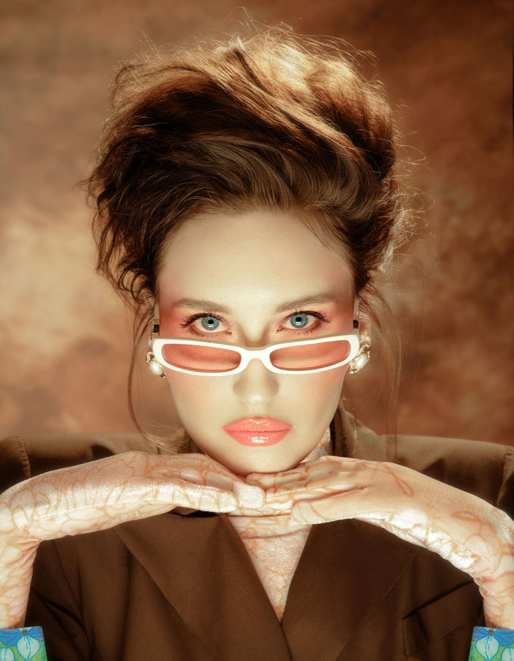 FAKBYFAK x Pilar Zeta  GRACE. Sunglasses. Glossy Ivory & Pink Code: FBF-14-02-03