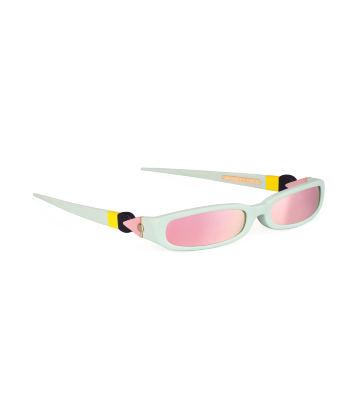 GRACE. Sunglasses. Matte Mint & Mirrored Pink