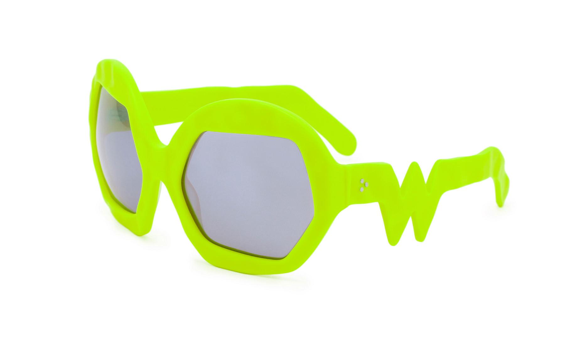 FAKBYFAK x Walter Van Beirendonck  Donder Sunglasses. Neon Yellow Code: 09/14/07