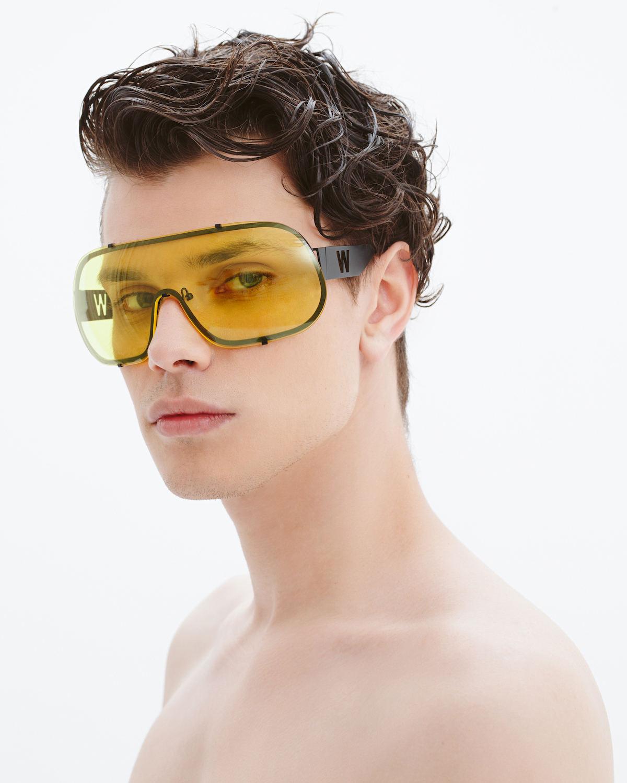 FAKBYFAK x Walter Van Beirendonck  BlitZ Solar Shield Sunglasses. Yellow Code: FBF-23-01-01
