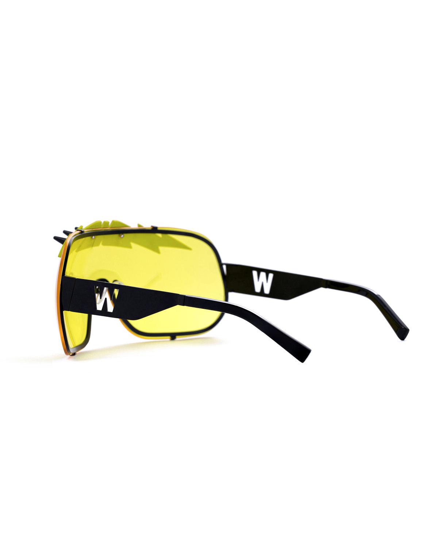 FAKBYFAK x Walter Van Beirendonck  BlitZ Solar Shield Sunglasses. Yellow & Neon Lightning Code: FBF-23-01-05