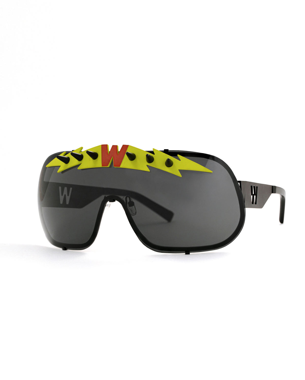 FAKBYFAK x Walter Van Beirendonck  BlitZ Solar Shield Sunglasses. Black & Neon Lightning Code: FBF-23-01-06