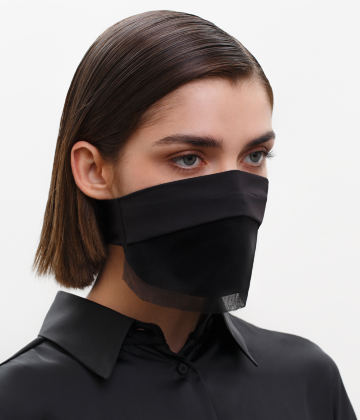 Fashion Face Covering with a Veil, Ear Strap-Free. The FAKOUT. Black