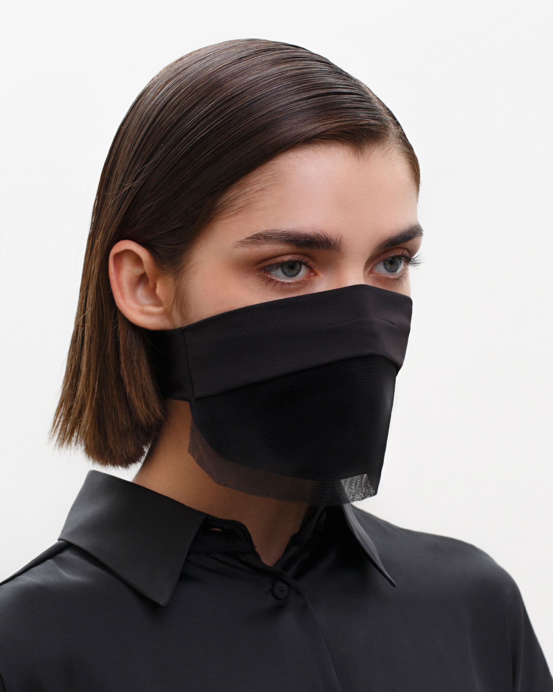 FAKBYFAK  Fashion Face Covering with a Veil, Ear Strap-Free. The FAKOUT. Black Code: FBF-42102-01