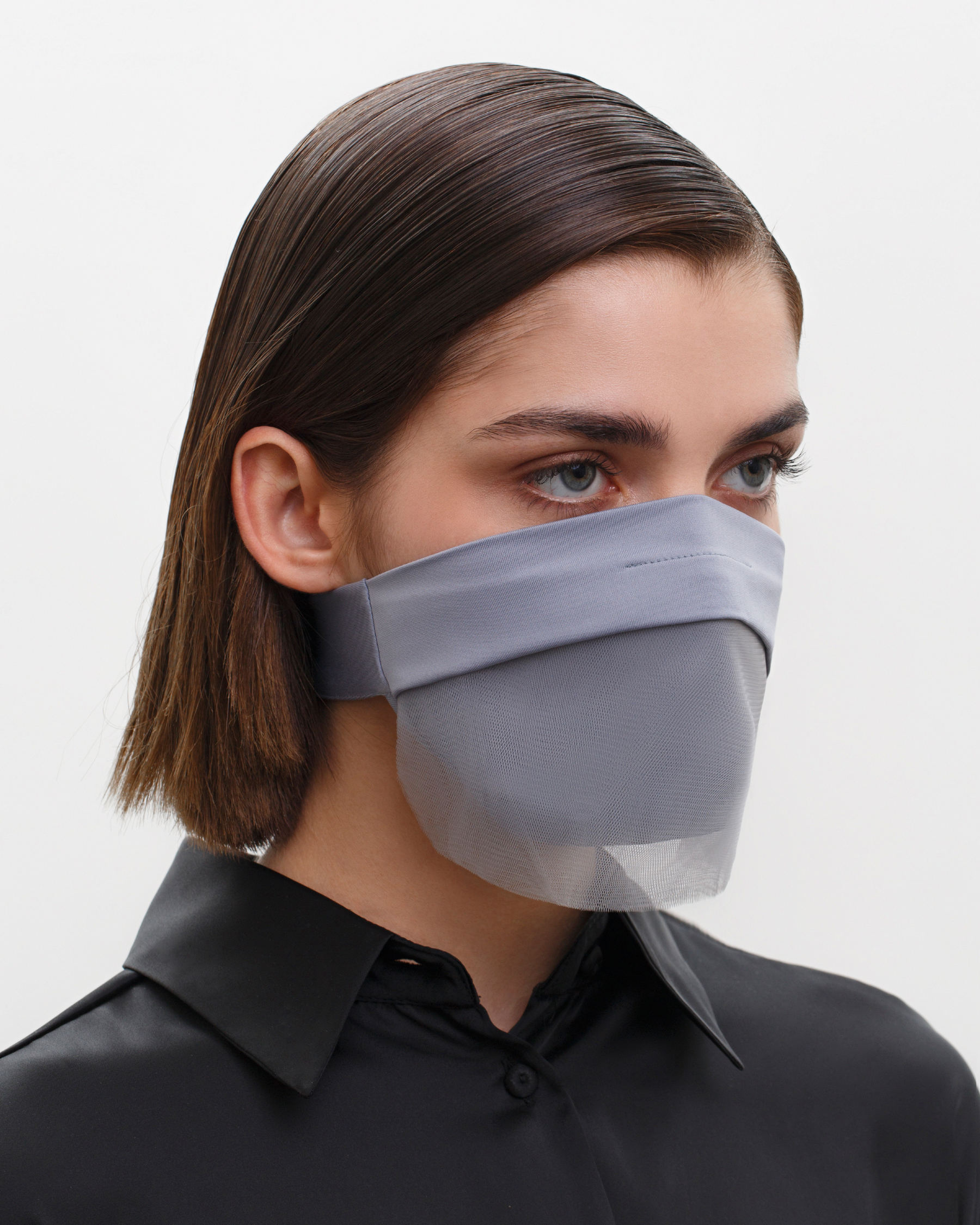 FAKBYFAK  Fashion Face Covering with a Veil, Ear Strap-Free. The FAKOUT. Grey Code: FBF-42102-03