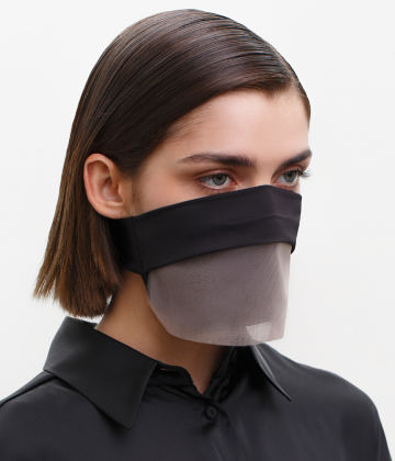 Fashion Face Covering with a Veil, Ear Strap-Free. The FAKOUT. Black & Seashell