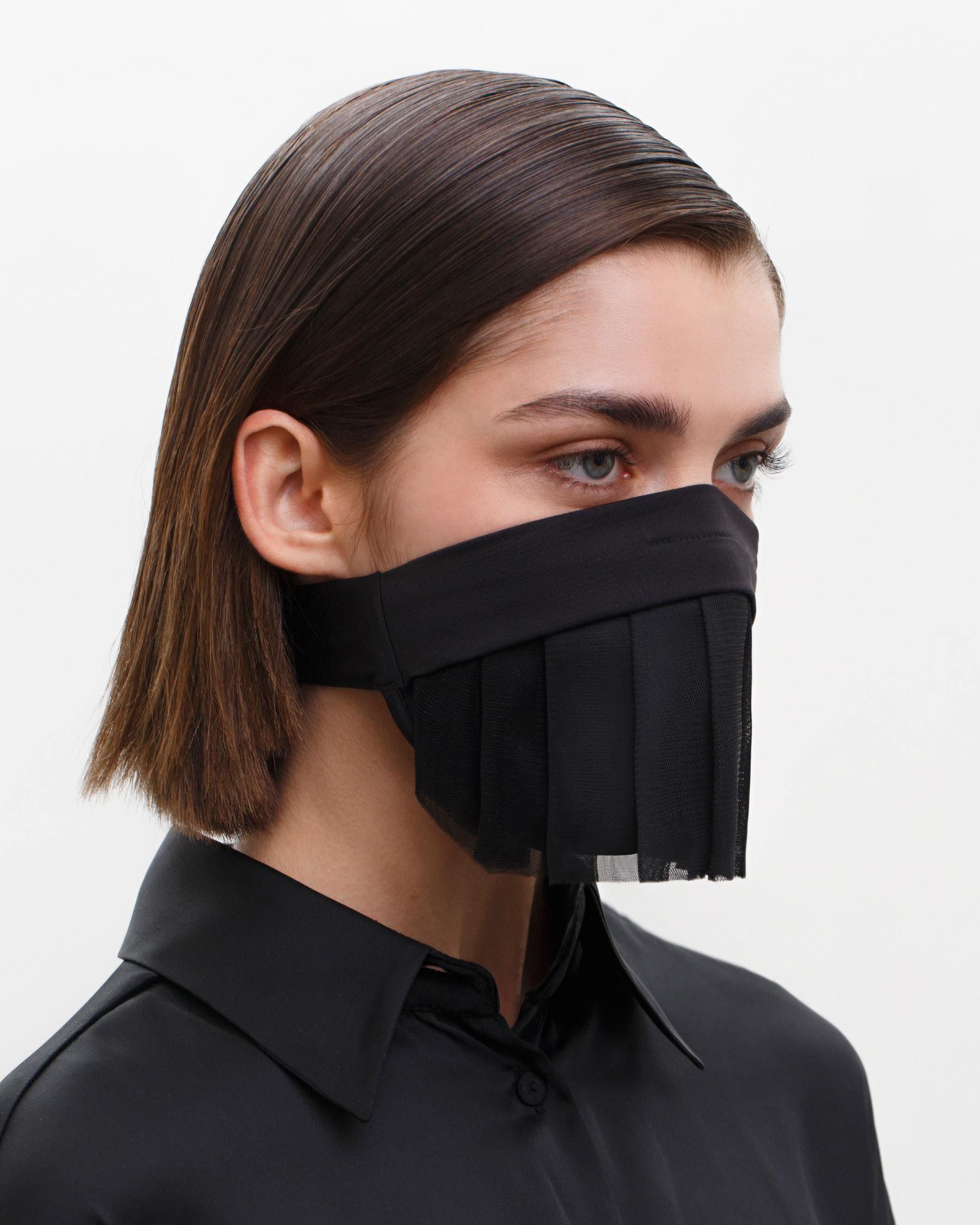 FAKBYFAK  Couture Face Covering with a Pleated Veil, Ear Strap-Free. The FAKOUT. Black Code: FBF-42104-01