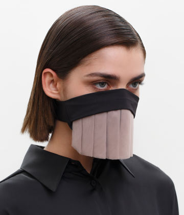 Couture Face Covering with a Pleated Veil, Ear Strap-Free. The FAKOUT. Black & Seashell