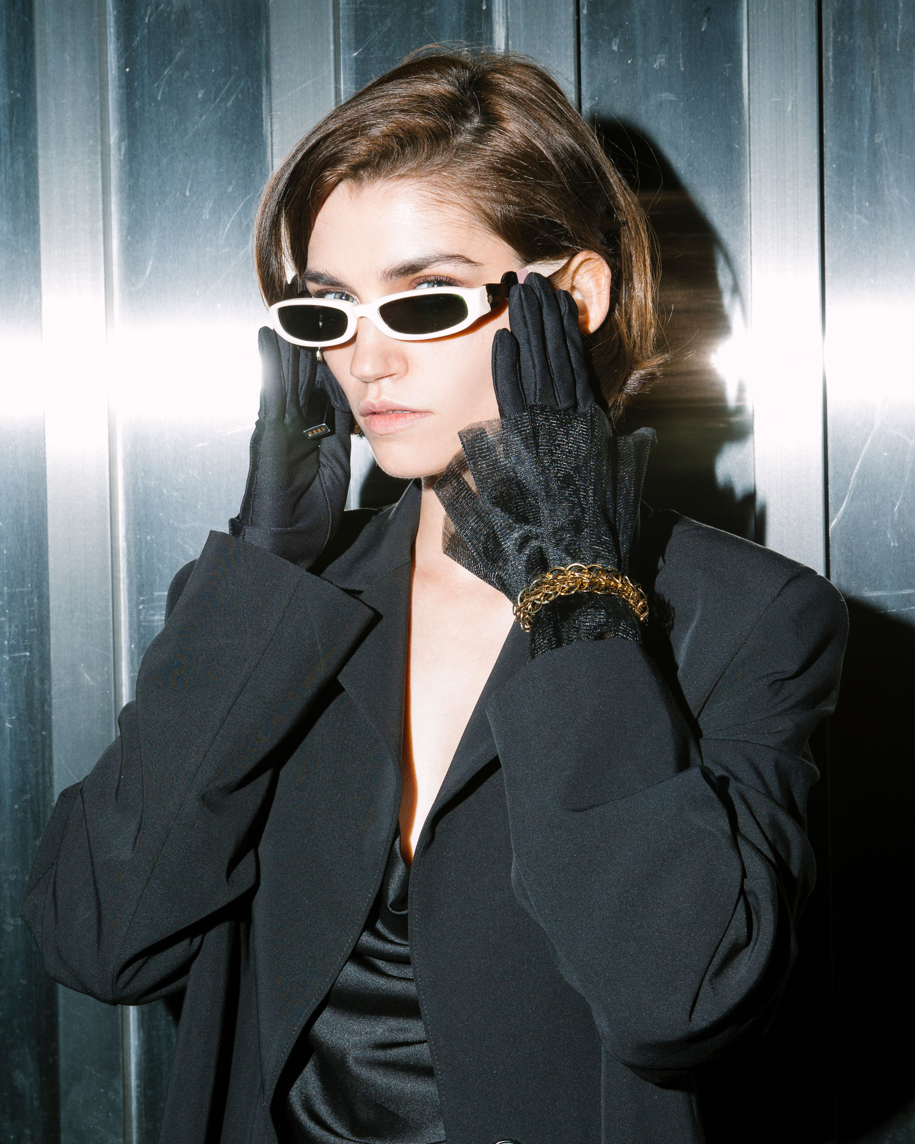 FAKBYFAK  The FAKOUT. Couture Gloves with Ruffled Cuffs, Antibacterial (ATB-UV+). Black Code: FBF-41102-01