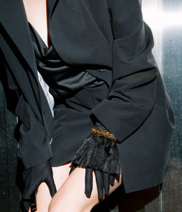 The FAKOUT. Couture Gloves with Ruffled Cuffs, Antibacterial (ATB-UV+). Black