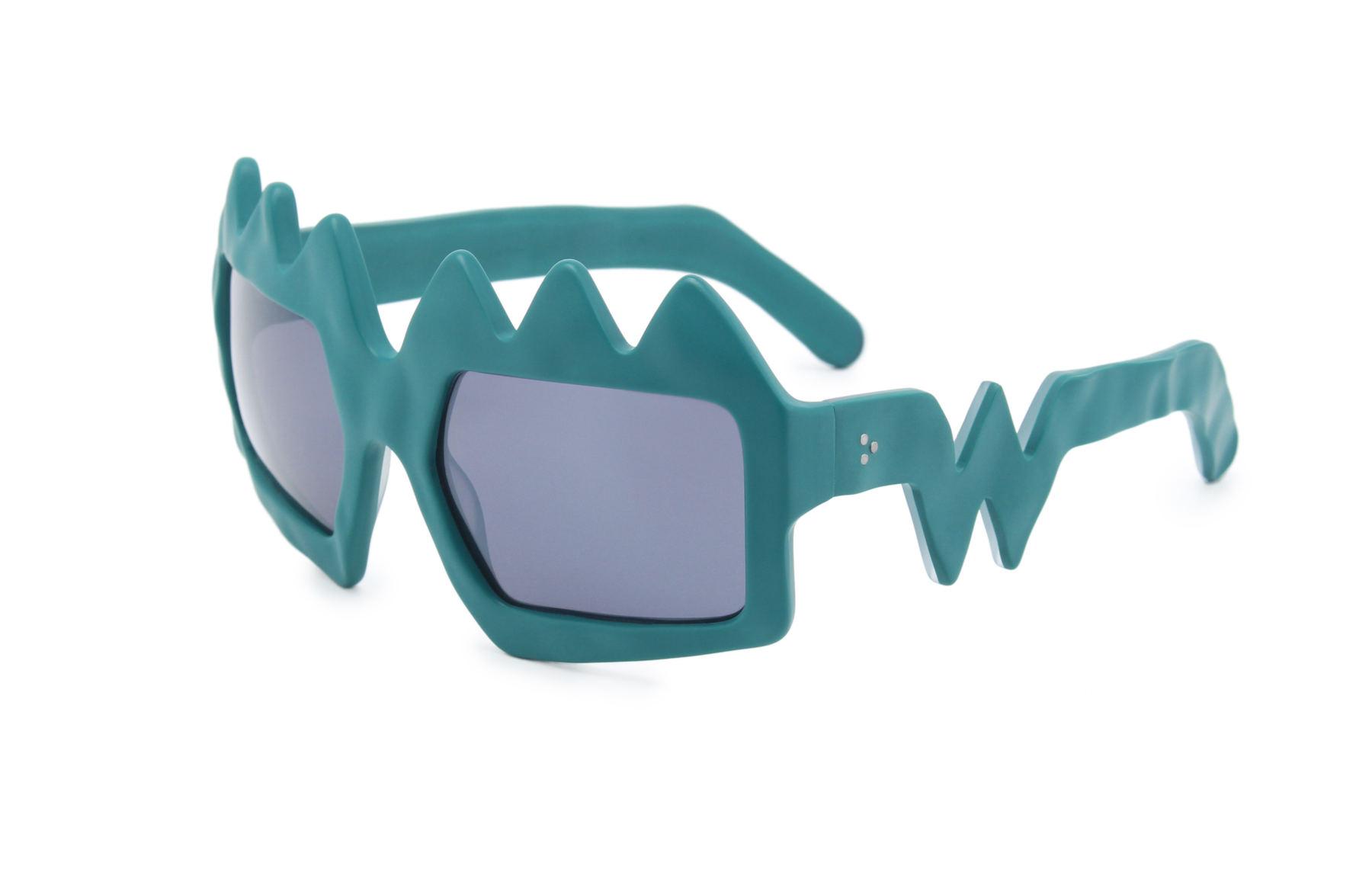 FAKBYFAK x Walter Van Beirendonck  Bliksem Sunglasses. Petrol Green Code: 09/13/05