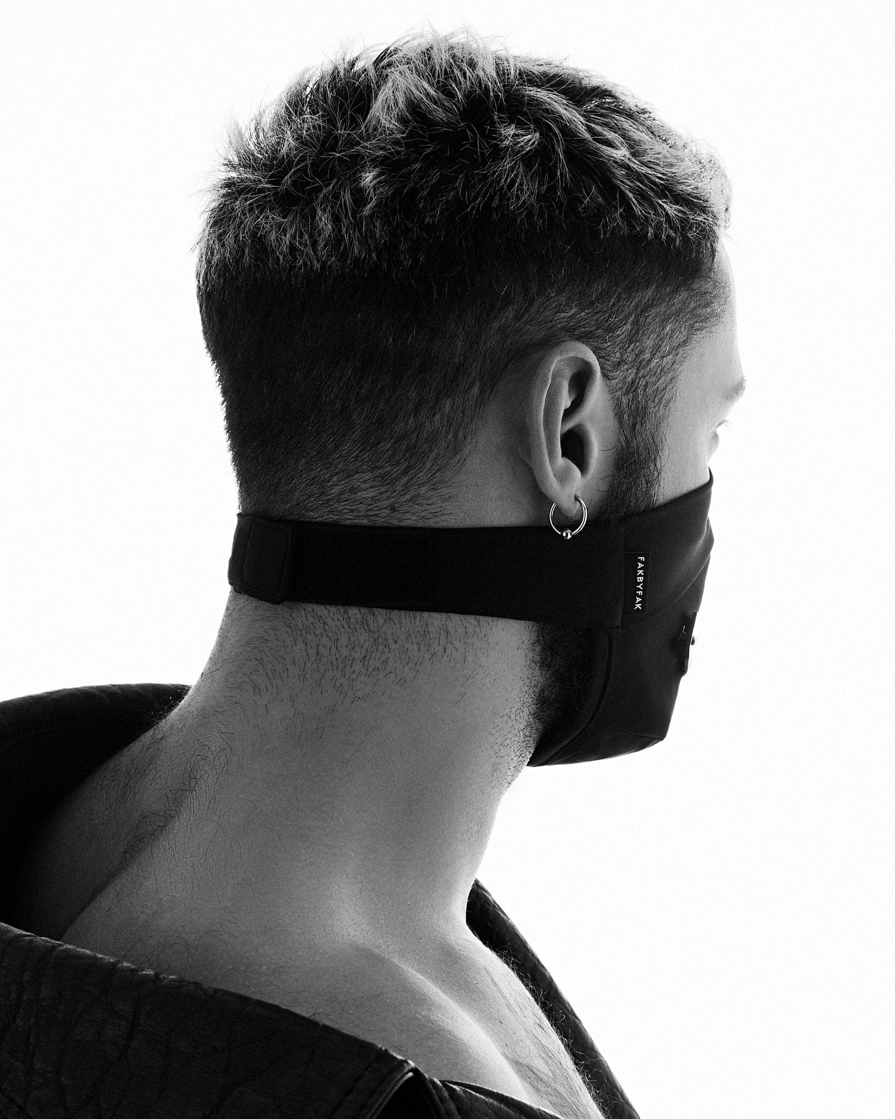 TOM OF FINLAND x FAKBYFAK  Fine Face Covering Mask. Exclusive Centennial Edition. Black Code: FBF-41103-02